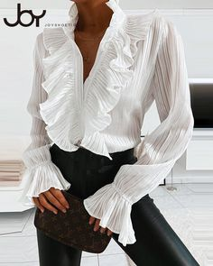 Style:Fashion Pattern Type:Solid Material:Polyester Neckline:Stand Sleeve Style:Long Sleeve Length:Regular Occasion:Casual Package Blouse Note: There might be difference according to. Trend Fashion, Estilo Fashion, Look Fashion, Latest Fashion Trends, Ideias Fashion, Womens Fashion, Fashion Beauty, V Neck Blouse, Blouse Online