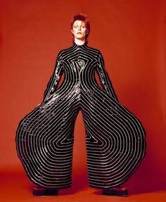 "David Bowie in the ""Tokyo Pop"" vinyl bodysuit that Yamamoto Kansai designed for his Aladdin Sane tour, 1973"