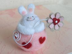 Valentine's Day needle felted bunny with a by LynnyBeeDesigns