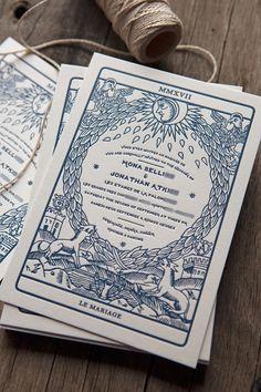 Wedding Invitation Inspired by Tarot Card / Wedding Letterpress Invitations by Jonathan Atkins and Printed by Cocorico Letterpress Letterpress Invitations, Invitation Card Design, Invitation Cards, Card Game Design, Design Cards, Wedding Stationary, Wedding Invitations, Invites, Print Design