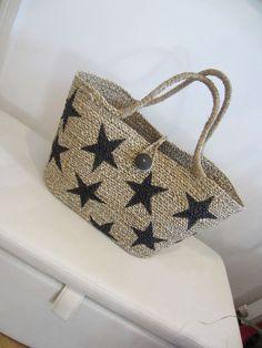 New, Hand Woven Large Plain/Black StarTali Beach/Shopping Bag