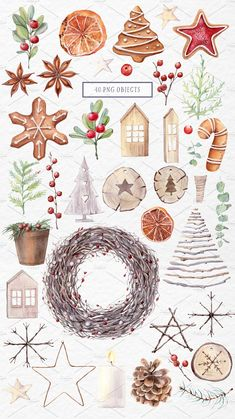 Smiles, warm hugs, favorite friends, fun it's all about Christmas! And what a holiday without delicious baking! In my new set you will find cozy illustrations Watercolor Clipart, Watercolor Background, Watercolor Illustration, Watercolor Art, Create Christmas Cards, Christmas Clipart, Christmas Art, Christmas Decorations, Christmas Illustration