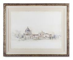 Villa Du Jardin I from Collection Ten by @ebanistacollect. Watercolour painting in carved and gilded frame. Discover more at www.ebanista.com