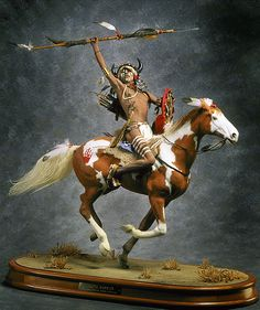 Mounted Lakota Warrior- This Lakota warrior is in a branch of the Teton Sioux and cousin of the Oglala Sioux. As such he was likely involved in the many internecine feuds that so weakened the Indian nations. He was a master of horsemanship as were they all after the horse was introduced by the Spanish.