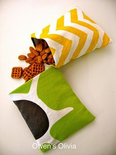 Reusable snack bags from Olivia at OwensOlivia.blogspot.com.  These are great because you can upcycle old clothing AND produce a bag that can be used over and over again.