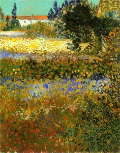 VINCENT VAN GOGH - Flowering Garden, Arles colour and vivacity, excelling Monet in my mind in this work.Arles brought out such a life of colour in his work raising him out of the artistic darkness he had been in for most of his life. Art Van, Van Gogh Art, Vincent Van Gogh, Henri Matisse, Rembrandt, Van Gogh Pinturas, Oil Canvas, Van Gogh Paintings, Paintings Online