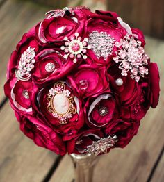 fabric flower and brooch bouquet by vinestjewelry on Etsy