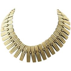Preowned Vintage 1940s Italian Gold Metal Necklace Collar Chocker (1 285 PLN) ❤ liked on Polyvore featuring jewelry, necklaces, choker necklaces, gold, gold jewelry, vintage choker, yellow gold jewelry, choker jewelry and vintage necklace