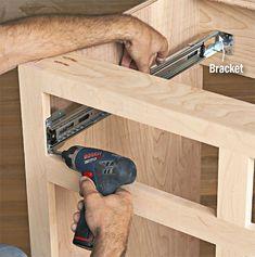 Drawer slides for frameless cabinet Building Kitchen Cabinets, Diy Kitchen Cabinets, Built In Cabinets, Diy Wood Projects, Furniture Projects, Diy Furniture, Diy Cabinet Doors, Cabinet Drawers, Building Drawers