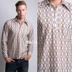 Men's Vintage shirt Men's 70s shirt Men's shirt Geometric Shirt Hippie Shirt Brown shirt Men's top - M/L