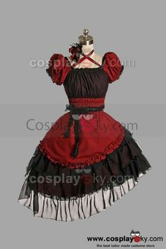 Red Cotton Yarn Classic Lolita Dress   CosplaySky.com