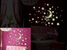 Новое поступление стены наклейки домашнего декора светятся в темноте звезды луна наклейки наклейка детские дети подарок детская комната бесплатная доставка купить на AliExpress