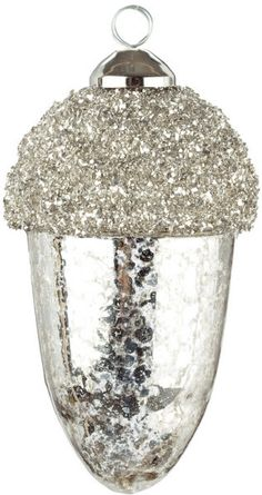 Mercury Glass Acorn Ornament with crystal encrusted cap Get this item at www.perfectlyfestive.com  #acorn