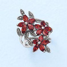 Sterling Marcasite,Garnet CZ Floral Ring