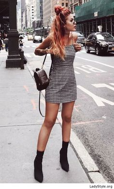 Cool plaid dress with boots and backpack - LadyStyle