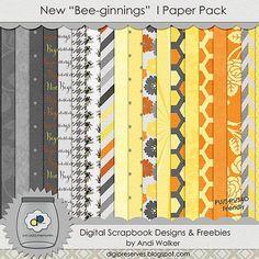 "FREE Digi Preserves: New ""Bee-ginnings"" - New Digital Scrapbook Kit Freebie"