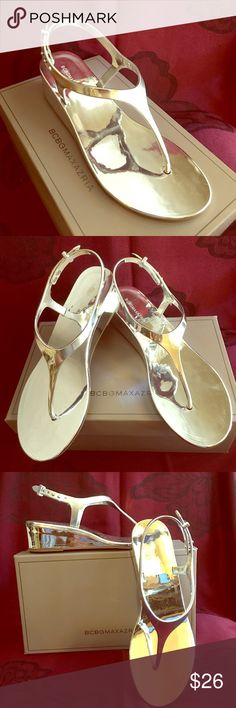💕BCBG MAXAZRIA Silva Thong Weldge Sandal NWOT BCBG Silver Silva Thong Sandals. Metallic Y strap size 7M comes with original box BCBG MAXAZRIA Shoes