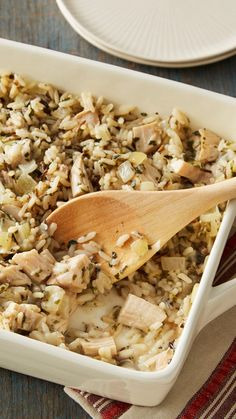 No one will be griping about being served leftover turkey when you bring this to the table. Mushroom lovers might enjoy adding a small jar of sliced mushrooms, drained, to this wild rice casserole. Or add 1/2 cup frozen green peas for a splash of green!