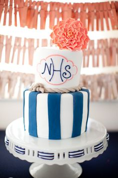 Perfect nautical cake!  Photography by shannonleeimages.com, Event Design   Coordination by katycarrierevents.com