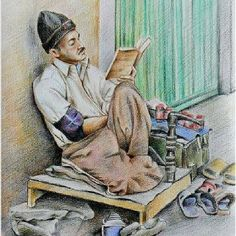 Beautiful #illustrationoftheday by Murtaza. #refugeerights #refugee #asylumseeker #art #art4change #art4mentalhealth #drawing #man #sit #sitting #read #reading #book #Sydney #Australia