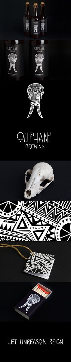Beer packing for Oliphant Brewing with hand drawn skull logo by Aerogram Studio