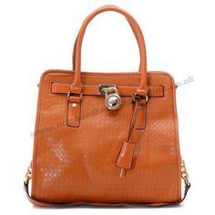 Michael Kors Hamilton Weave Leather Bags Chestnut
