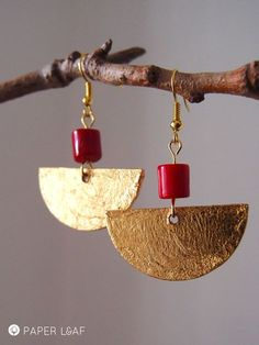 Paper Leaf   Mini Maya   paper earrings