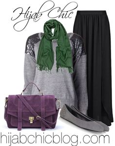 #hijab chic #hijab outfit Black skirt, green scarf, purple bag, grey shoes, grey and sequins shirt
