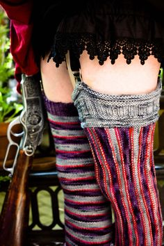 I have to make these, super sexy steampunk! Ravelry: The Amplitude Vertical Striped Stockings pattern by Amanda M. Striped Stockings, Knit Stockings, Striped Tights, Stockings Outfit, Couture, Stocking Pattern, Mori Girl, Vertical Stripes, Knitting Socks