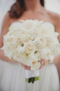 white roses and calla lilies is what she wants for bridesmaids + ivory