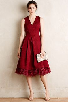 Feathered Mirabeau Dress - Anthropologie