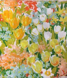 Vintage Stevens Utica Twin Fitted Florals Orange Blue Green Yellow   eBay