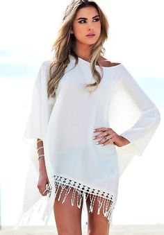 cf38a8cc3e Chiffon cover up White Fringe Beach Cover Up Crochet Beach CoverUp Swimsuit  dress Beach Dress Lace Cover Up Gift for her summer dress