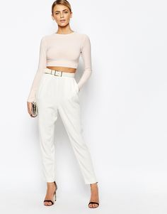 Image 4 of Boohoo Open Back Long Sleeve Crop Top