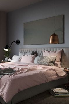 This is exactly the bedroom I️ want and I️ would accent it with white, and rose gold