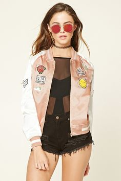 00be6a43a57c A satin bomber jacket featuring long sleeves