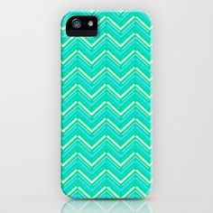 Teal and Yellow Chevron Pattern iPhone & iPod Case by T30 Gallery - $35.00