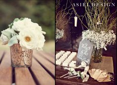 yosemite wedding   white and green   with baby's breath  and mercury glass