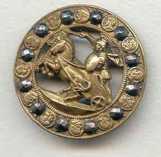 "Antique 1 5"" Brass Button Cut Steels Open Work Gladiator Cart Horses   eBay"