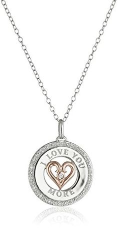 Sterling Silver I Love You More Pendant Necklace with Rose Gold Plating and RoundCut Diamonds ** You can get more details by clicking on the image.Note:It is affiliate link to Amazon. #NecklacesCollection