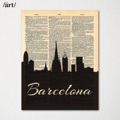 Barcelona Spain City Skyline Dictionary Art Print / Cityscape Poster / Travel Art Decor