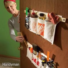 A great way to store little stuff in the house that belongs in the basement, shed or garage!  A shoe bag works just as well!