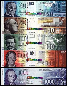 Old Finnish 'MARKKA' banknotes. Now Finnish currency is the EURO!