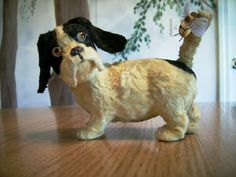 Extremely Cute German Windup Dog with Bee on Tail - Google Eyes Googly Eyed