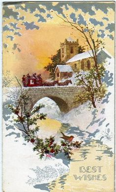 Vintage Christmas Card, published by Sharpe. Christmas Postcards, Holiday Greeting Cards, Vintage Greeting Cards, Vintage Christmas Cards, Vintage Holiday, Christmas Greetings, Vintage Postcards, Old Time Christmas, Christmas Scenes