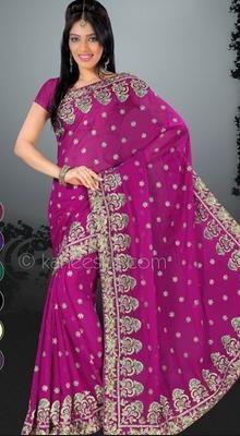 Elegant Pink Embroidered Saree