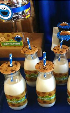 Cookies and milk at a Cookie Monster Birthday Party!  See more party ideas at CatchMyParty.com!