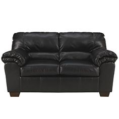 MFO Lisa Loveseat in Black Leather -- To view further for this item, visit the image link.