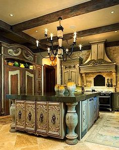Sensational Tuscan kitchen island.