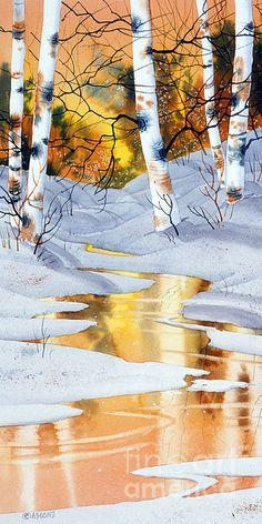 """Golden Winter"" Watercolor by Teresa Ascone Watercolor Trees, Watercolor Landscape, Landscape Art, Landscape Paintings, Watercolor Paintings, Watercolors, Watercolor Negative Painting, Winter Painting, Winter Art"